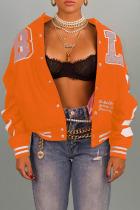 Tangerine Red Sportswear Print Split Joint Mandarin Collar Outerwear