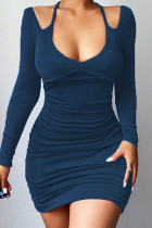 Blue Sexy Solid Hollowed Out Split Joint Frenulum Halter Pencil Skirt Dresses