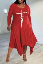 Red Casual Print Split Joint O Neck Irregular Dress Plus Size Dresses