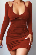 Dark Brown Sexy Solid Hollowed Out Split Joint Frenulum Halter Pencil Skirt Dresses