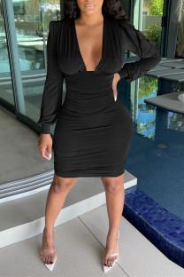 Black Fashion Sexy Solid Fold V Neck Long Sleeve Dresses
