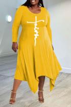 Yellow Casual Print Split Joint O Neck Irregular Dress Plus Size Dresses