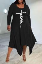 Black Casual Print Split Joint O Neck Irregular Dress Plus Size Dresses