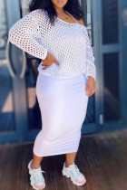 White Casual Solid Hollowed Out Split Joint See-through Spaghetti Strap Long Sleeve Two Pieces