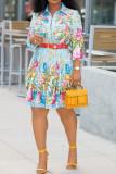 White Fashion Street Print Split Joint Turndown Collar A Line Dresses