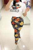 Red Fashion adult Street Letter Patchwork Print Two Piece Suits Lips Print pencil Short Sleeve Two Pieces