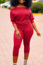 Red Sexy Solid Split Joint Off the Shoulder Regular Jumpsuits