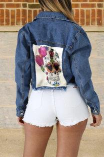 Deep Blue Fashion Casual Patchwork Skull Printing Turndown Collar Long Sleeve Regular Denim Jacket