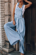 Baby Blue Fashion Casual Solid Pocket Spaghetti Strap Loose Jumpsuits