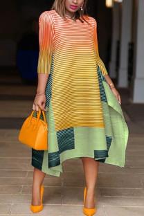 OrangeYellow Fashion Striped Print Stitching Loose Dress