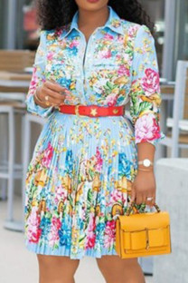 Light Blue Fashion Street Print Split Joint Turndown Collar A Line Dresses