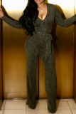 Gold Casual Solid Split Joint V Neck Straight Jumpsuits