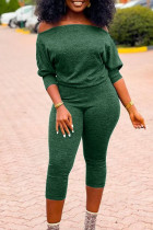 Green Sexy Solid Split Joint Off the Shoulder Regular Jumpsuits