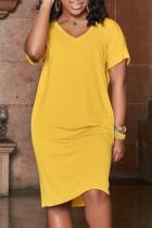 Yellow Fashion Casual Plus Size Solid Basic V Neck Short Sleeve Dress