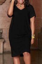 Black Fashion Casual Plus Size Solid Basic V Neck Short Sleeve Dress