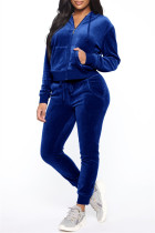 Deep Blue Fashion Casual Solid Zipper Hooded Collar Long Sleeve Two Pieces
