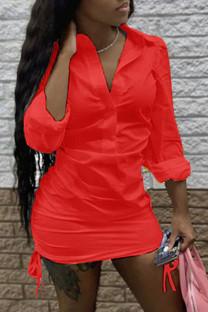 Red Fashion adult Ma'am Street Shirt sleeves Long Sleeves Turndown Collar Step Skirt skirt Solid Dresses