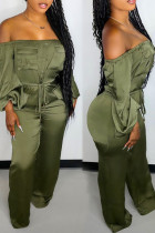 Green Casual Solid Split Joint Pocket Frenulum Off the Shoulder Straight Jumpsuits