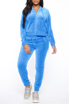 Light Blue Fashion Casual Solid Zipper Hooded Collar Long Sleeve Two Pieces