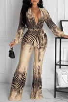 Khaki Fashion Casual Print With Belt V Neck Regular Jumpsuits