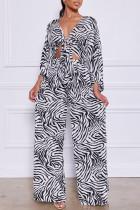 Zebra Fashion Casual Print Bandage Turndown Collar Long Sleeve Two Pieces