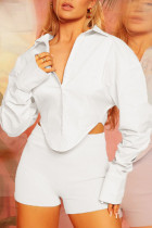 White Sexy Solid Split Joint Buckle Asymmetrical Turndown Collar Tops