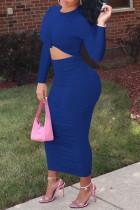 Royal Blue Fashion Casual Solid Fold O Neck One Step Skirt Dresses