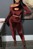 Burgundy Sexy Solid Hollowed Out Split Joint Asymmetrical O Neck Long Sleeve Two Pieces