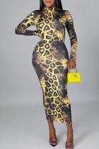 Yellow Casual Print Split Joint Zipper Collar Dresses