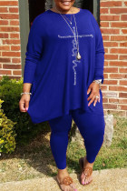 Blue Casual Solid Split Joint Hot Drill O Neck Plus Size Two Pieces