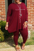 Burgundy Casual Solid Split Joint Hot Drill O Neck Plus Size Two Pieces