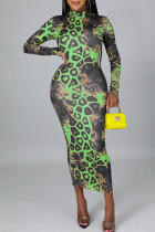 Green Casual Print Split Joint Zipper Collar Dresses