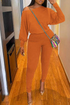 Tangerine Red Casual Solid Split Joint O Neck Long Sleeve Two Pieces