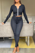 Black Fashion Casual Solid Split Joint Long Sleeve Two Pieces