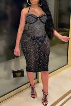 Black Sexy Hot Drilling Bandage See-through Backless Spaghetti Strap Sleeveless Dress