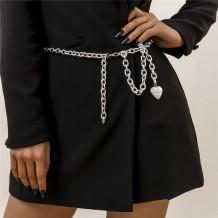 Silver Fashion Solid Geometric Chain Tassel Waist Chain