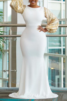 White Fashion Sexy Patchwork Backless O Neck Evening Dress