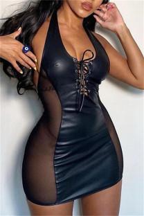 Black Fashion Sexy Patchwork Bandage See-through Backless Halter Sleeveless Dress