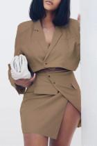 Coffee Fashion Casual Solid Asymmetrical Turndown Collar Long Sleeve Two Pieces