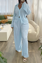 Blue Casual Solid Split Joint Turndown Collar Long Sleeve Two Pieces