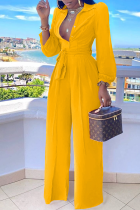 Yellow Casual Solid Split Joint Turndown Collar Straight Jumpsuits
