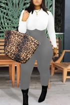 Grey Fashion Street Adult Twilled Satin Patchwork Solid Split Joint O Neck Skinny Jumpsuits