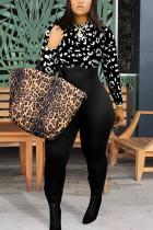 Black Fashion Street Adult Twilled Satin Patchwork Solid Split Joint O Neck Skinny Jumpsuits