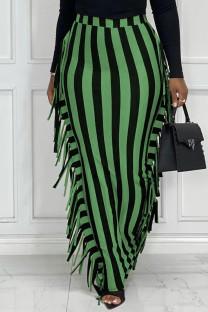 Black Green Fashion Casual Striped Print Tassel Split Joint Regular High Waist Skirt