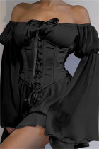 Black Fashion Sexy Solid Bandage Backless Off the Shoulder Long Sleeve Dress Two Pieces