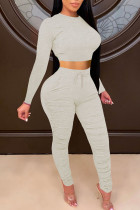 Light Gray Casual Solid Split Joint Fold O Neck Long Sleeve Two Pieces