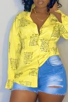 Yellow Casual Print Split Joint Turndown Collar Tops