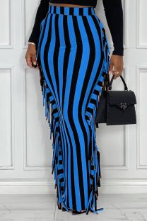 Blue Sexy Striped Tassel Skinny High Waist Pencil Full Print Bottoms