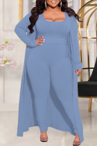 Light Blue Fashion Casual Solid Split Joint Square Collar Plus Size Three Pieces