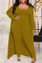 Earth Yellow Fashion Casual Solid Split Joint Square Collar Plus Size Three Pieces